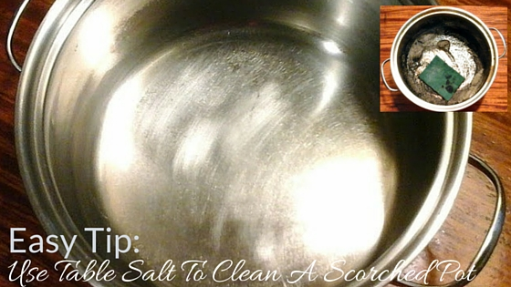 how to clean a burnt pot with salt